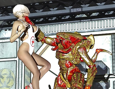 Horny blonde 3d nurse..