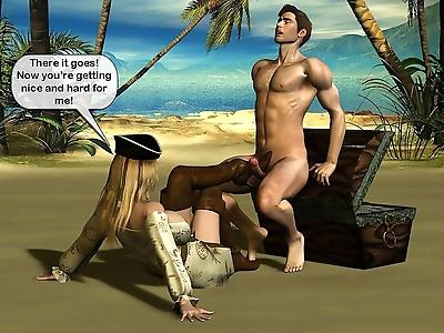 Hard sex with pirate slut -..